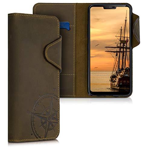 kalibri Hülle kompatibel mit LG G7 ThinQ/Fit/One - Leder Handyhülle - Handy Wallet Hülle Cover Kompass Vintage Braun