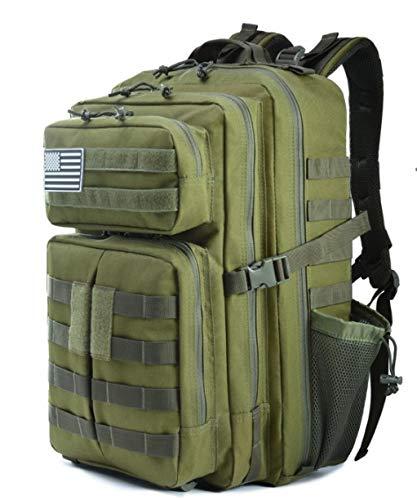 Mochila Táctica Militar 45L, Impermeable Paquete de Asalto MOLLE de Gran Capacidad para Utilidad, Bolsa de Emergencia de 3 Días para Caza Senderismo Acampada y Actividad al Aire Libre -Ejercito Verde