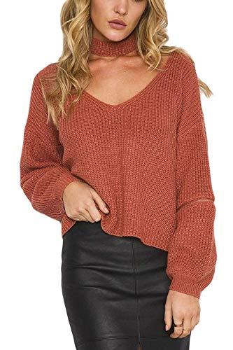 Frauen Sweater Langen Mit Ärmel V Ausschnitt Gerissen Sweatshirt Choker Young Fashion Pullover T Shirt Winter Mode Warm Strickpullover Pullis (Color : Rot, Size : One Size)