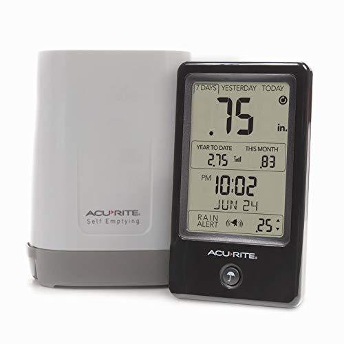 AcuRite 02446M Wireless Rain Gauge with Indoor Digital Display, Black