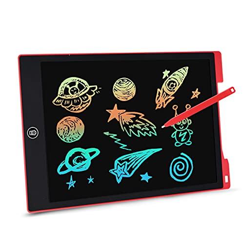 EooCoo Tableta de Escritura Color LCD 12 Pulgadas, LCD Writing Tablet con Botón de Bloqueo, Juguetes Niña y Niños, para el Hogar, Escuela, Oficina - Rojo