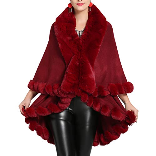 AnKoee Stola Scialle Donna Pelliccia Coprispalle Sciarpa Elegante per Matrimonio Invernale Cerimonia Sposa Damigella (Rosso vino)