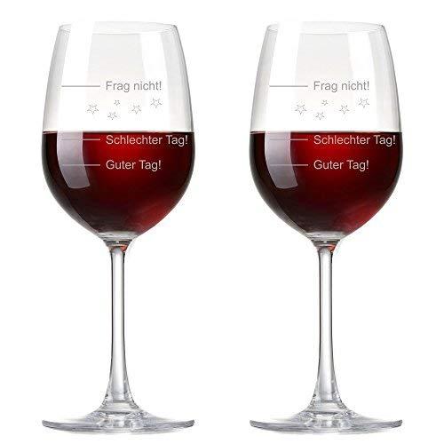 van Hoogen 2er Set - 2 Stück Premium Weinglas   Stimmungsglas Guter Tag!, Schlechter Tag! - Frag Nicht!, 410 ml mit Gravur Rotweinglas/Weißweinglas - originelles Geschenk   Rona…