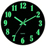 JoFomp Modern Night Light Wall Clock, 12 Inch Silent Non-Ticking Quartz Wall Clocks, Large Luminous Function Numbers and Hands, Battery Operated Decorative Wall Clock for Office, Kitchen, Living Room