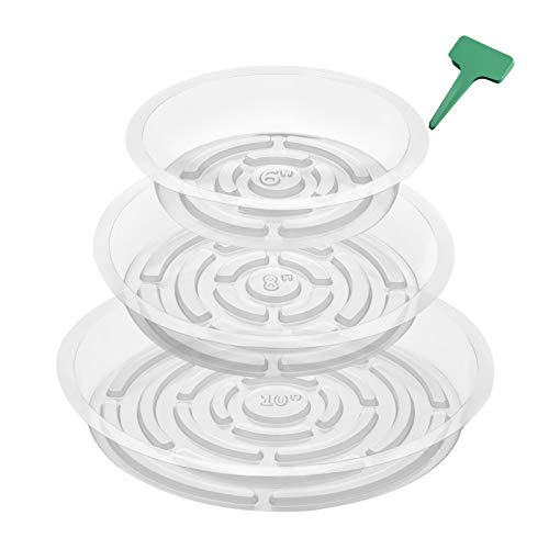 CEED4U 24 Packs Clear Plant Saucer Drip Trays Plastic Plant Pot Saucers with 15 Packs Plant Labels, Flower Pot Tray Set for Indoor Outdoor Use, Assorted Sizes 6, 8, 10 Inches, 8 Pcs of Each Size
