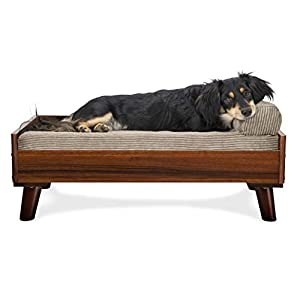 Furhaven Pet Dog Bed Frame – Mid-Century Modern Style Bed Frame Furniture for Pet Beds and Mattresses, Walnut, Medium