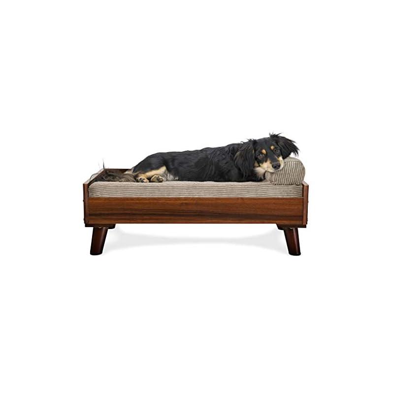 dog supplies online furhaven pet dog bed frame - mid-century modern style bed frame furniture for pet beds and mattresses, walnut, medium
