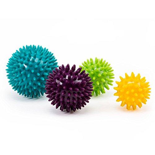 Noppenball-Set, 4 Igelbälle: 5 cm safran / 6 cm lime / 7 cm aubergine / 8 cm petrol, Massageball für Selbstmassage, Reha & Fitness, Reflexzonen - auch als Set verfügbar