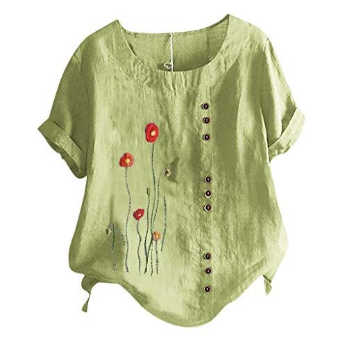 Damen Leinenblusen, Luotuo Frauen Vintage Mode Bluse mit Blumenmuster Taste Dekoration,Sommer Lose Beiläufig T-Shirt Rundhals Kurzarm Top Oberteil Tunika