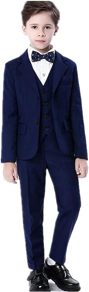 Handsome Boy Suits Tuxedo Slim Fit Notch Lapel 5 Pieces (Jacket+Pants+Shirt+Vest+Bowtie) Party Performance