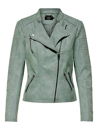 ONLY ONLAVA Faux Leather Biker OTW Noos Chaqueta, Grün (Chinois Green Chinois Green), 34 para Mujer