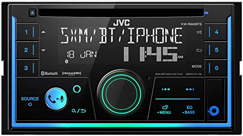 JVC KW-R940BTS Bluetooth Car Stereo Receiver with USB Port – LCD Display - AM/FM Radio - MP3 Player - Double DIN – 13-Band EQ (Black)