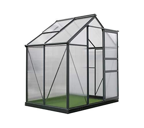 Westmann Aluminium Gewächshaus klein 6x4 anthrazit inkl. Dachfenster & Öffner 192x132 cm Treibhaus Aufzucht Frühbeet