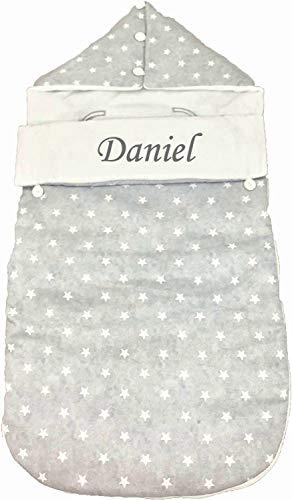 Saco nana capazo Personalizado de invierno y grupo 0 bebe universal (Danielstore) (gris estrellas)