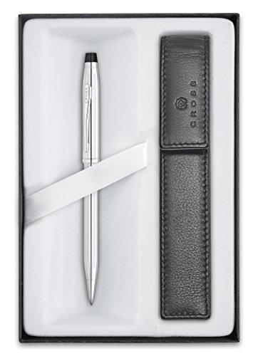 Cross Century II - Set para regalo con bolígrafo y funda, color cromado brillante y negro