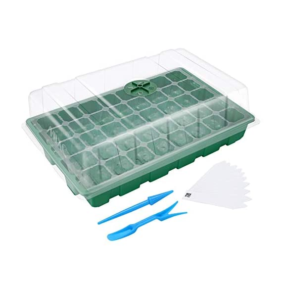 """MIXC Seedling Trays Seed Starter Tray, 5-Pack Mini Propagator Plant Greenhouse Grow Kit with Humidity Vented Domes and… 1 High quality transparent plastic cell trays of this seed grow kit make it easy to observe your plants without interrupting the process. Adjustable vents on the humidity dome of this seed starter kit allow you to regulate the temperature and humidity of your seedling environment, so you have total control over the growing process. Please read the size of each parts carefully. Cells size: 1.5""""x 1.5""""x 2""""(suitable for small seeds); Dome height: 2.75""""; Product size: 14.6""""x 9.84""""x 5.1"""""""