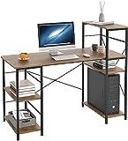 Mesa de Ordenador Escritorio de PC con 5 Estantes para Almacenaje de Anfitrión de la Computadora Escritorio de Computadora de Madera y Metal Marrón 113 x 56 x 110.5 cm