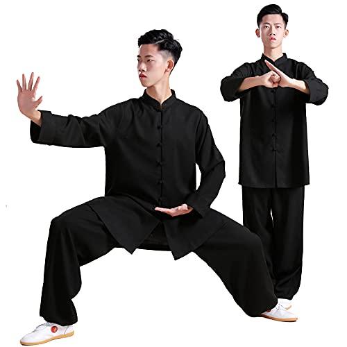 Tai Chi Ropa Mujer - Hombre Ropa Kung Fu Uniforme de Artes Marciales Algodón Manga Larga Primavera Verano Mañana Ropa Deportiva Gran Tamaño,Black-Xxlarge