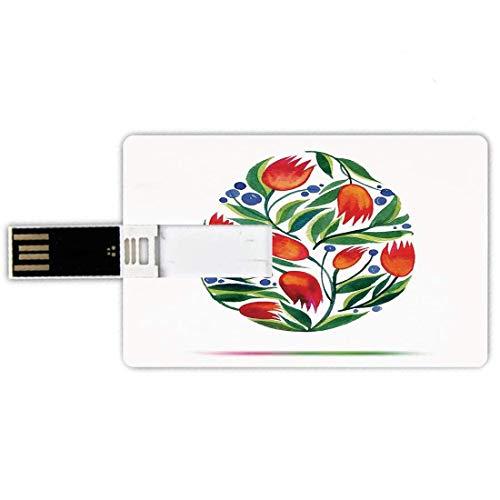 16G USB Flash Drives Forma di carta di credito Acquerello Memory Stick Stile carta di credito Uovo di Pasqua con fiori di tulipano Vernice in stile retrò Nostalgico Colore pastello, Bianco Verde Rosso