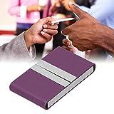Estuche para tarjetas de visita ultradelgado Durabilidad del portatarjetas de visita, para oficina, para negocios, para exteriores(purple, 400#)