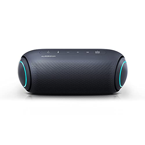 LG XBOOM Speaker PL7 Portable Wireless Bluetooth, Dual Action Bass, Sound by Meridian, Water-Resistant, Sound Boost EQ, 24 Hr Battery Life - Black