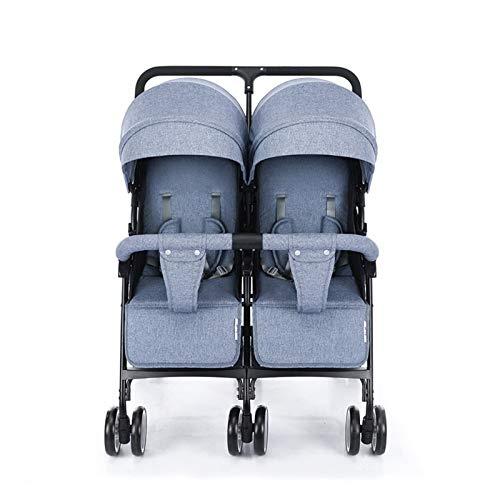 XYSQ Doppelkinderwagen Kutsche, Leicht Und Faltbare Shock Zweisitzer, Twin-Sitz Neugeborene Kinderwagen Baby-Kinderwagen (Color : Blue)