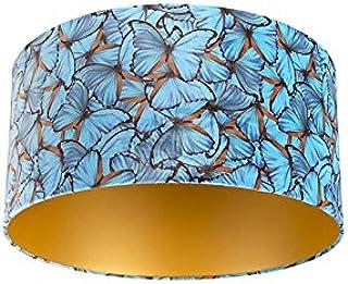 QAZQA Algodón Pantalla terciopelo diseño mariposa 50/50/25 interior dorado, Redonda/Cilíndrica Pantalla lámpara colgante,Pantalla lámpara de pie
