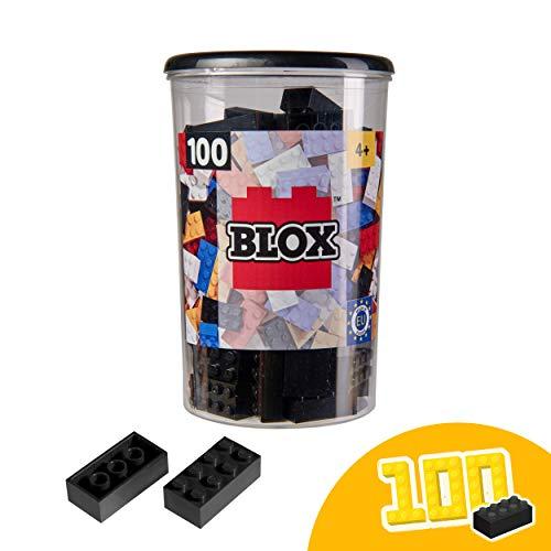 Simba 104118916 Blox, Schwarze Bausteine Made in Italy, 8er Steine, inkl. Aufbewahrungsdose, höchste Qualität und 100 Prozent kompatibel mit bekannten Spielsteinen