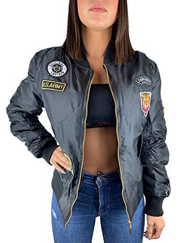 Worldclassca Damen Bomber Jacke MIT Army MILITÄR Patches ÜBERGANGSJACKE Piloten Jacke Fliegerjacke Blogger Clubwear NEU MIT REIßVERSCHLUSS NEU (M, Schwarz Patches)