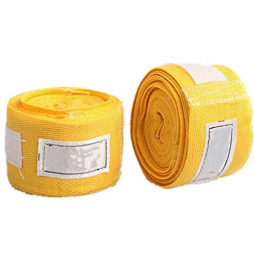 WenJiaShanGDSH 1 par de Vendajes de algodón Deportes Absorbente de Sudor Atado Manos atadas Strap Guantes Boxeo Vendajes 3 Metros para Kickboxing Karate Fighting Martial (Color : Yellow)