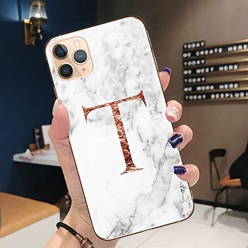 BLBI Monograma de la Letra 2 unids A B C D Caja de teléfono de mármol Blanco de mármol Blanco para Coque IP/Hone 12 Mini 11 Pro MAX X XR XS Tapa Trasera 613 (Color : T7519, Material : For iPhone 12)