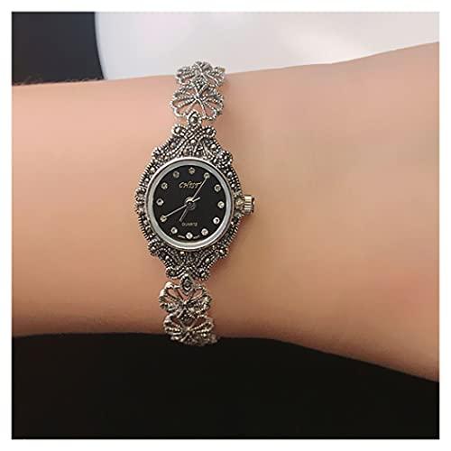 CHXISHOP Reloj de pulsera para mujer Movimiento de cuarzo 925 plata hueco flor con incrustaciones de diamante reloj (19cm) negro