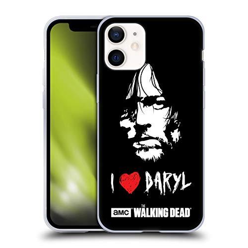 Head Case Designs Licenciado Oficialmente AMC The Walking Dead Ame Cara De Daryl Tipografía Carcasa de Gel de Silicona Compatible con Apple iPhone 12 Mini
