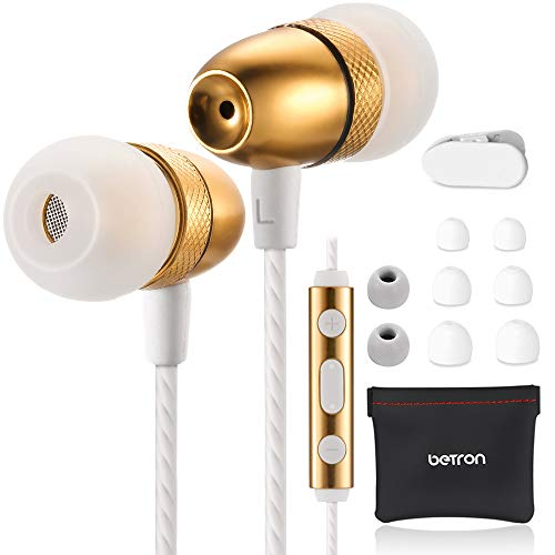 Betron ELR50 Earbud Earphones, in Ear Headphones with Microphone and Remote Control Including Carry Case, 6 Silicon Ear Buds, Gold
