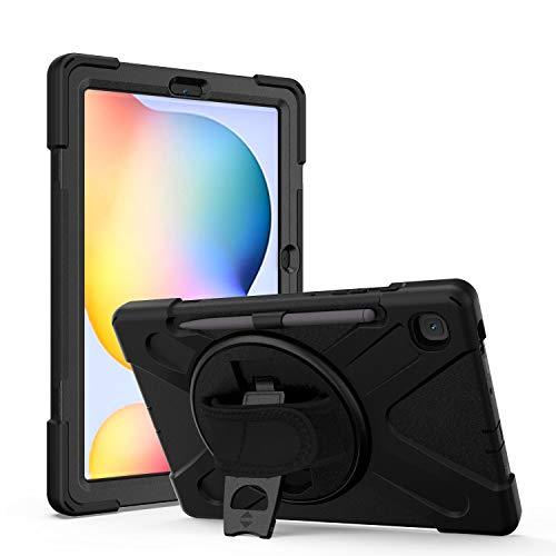 Capa para Galaxy Tab S6 Lite de 10,4 polegadas 2020 com suporte de caneta S, ZERMU à prova de choque de policarbonato rígido + capa híbrida de silicone com suporte integrado + alça de mão + alça de ombro para Samsung Galaxy Tab S6 Lite 10,4 polegadas 2020 (SM-P610/P615)