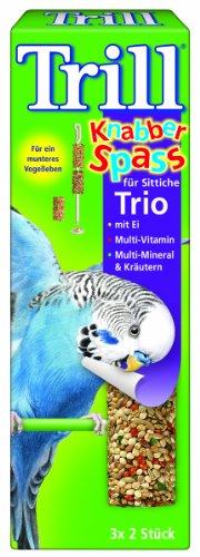 Trill Knabber Spaß für Sittiche Trio mit Ei, Multi-Vitamin, Multi-Mineral und Kräutern 6 Stück, 7er Pack (7 x 60 g)