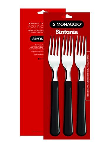 Tenedores De Mesa 3 Piezas Color Negro Mod. Sintonia