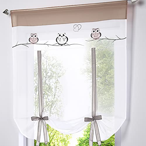 WPKIRA Home Fashion Cartoon Owl Embroidered Rod Pocket Top Roman Curtain Vertical Curtain Cafe Curtain Window Panels Door Voile Tulle Sheer Kitchen Balloon Curtain, 1 Panel Sand W31X L39 inch