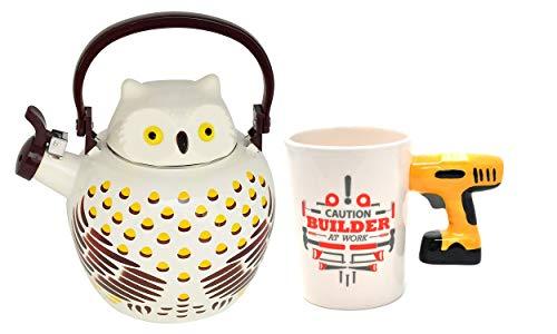 HOME-X Owl Whistling Tea Kettle & Drill Handle Ceramic Coffee Mug