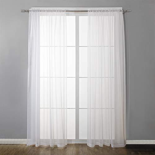 N\A THETHO 2 pcs Cortinas Salon Translucidas de 140x241cm Visillos Dormitorio Blanco Visillos para Ventanas Cortinas Comedor