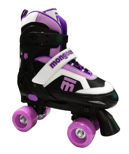 Mongoose Girl's Quad Roller Skates, Small, Black/Pink/White