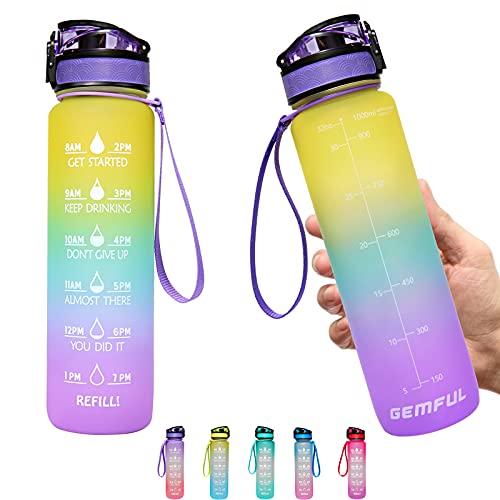 GEMFUL Bottiglia Acqua Borraccia Sportiva con Cannuccia e Filtro 1 Litro per Fitness Gym Ciclismo Palestra Outdoor