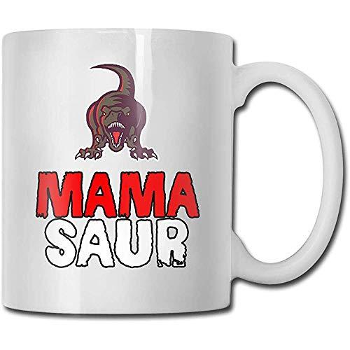 Mama Saur Taza de cerámica Taza Tazas de café lindas Taza de viaje de cerámica Taza de té 330ml (Blanco)
