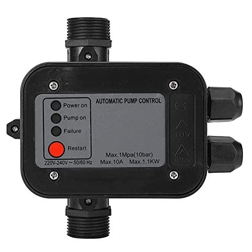 LANTRO JS - IP65 220 V Presostato bomba agua, Controlador de interruptor de presión automático, Interruptor de presión de Agua autocebante, controlador de presión bomba de agua (Negro)