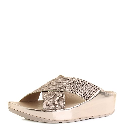 Sandales De Diapositive FitFlop Crystall Or Rose UK6.5 Or Rose