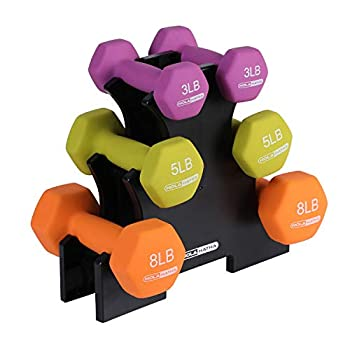 HolaHatha 3Lb 5Lb & 8Lb Hex Dumbbell Set with Rack Stand Ideal Strength Weight Training for Ladies Women's Weights Perfect Home Workout Gym Exercises for Muscle Toning Fitness