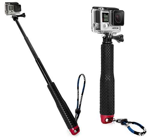 MyGadget Selfie Stick Waterproof x Action Camera - Bastone Telescopico Estensibile - Hand Grip Asta Allungabile per GoPro Hero 8 7 6 5 4 Xiaomi Yi 4k - Rosso