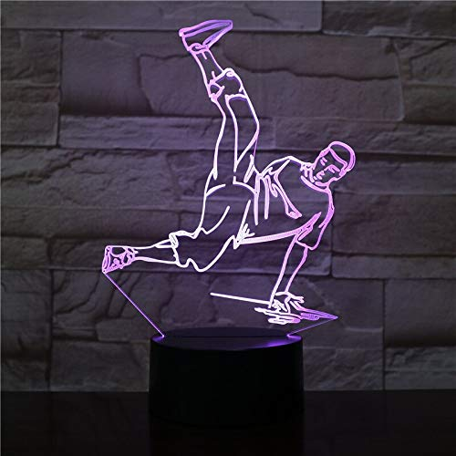 hqhqhq USB 3D LED Luz de Noche Street Dance Figura Multicolor RGB Luz Decorativa Niños Niño Niños Regalos para bebés Hip Hop Lámpara de Mesa Mesita de Noche 111