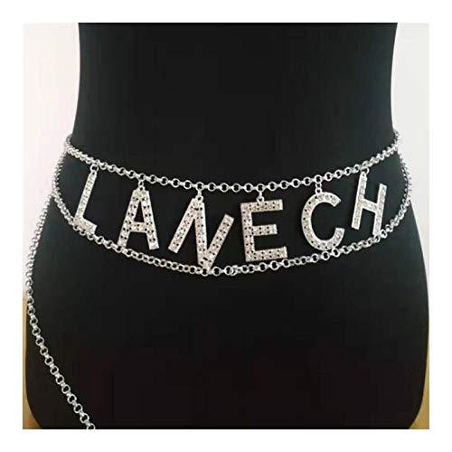 GSZP XF - Cadena de metal vintage para el vientre, accesorios para vestir con cristales creativos, famosos y letras, regalos para mujeres (talla 5)
