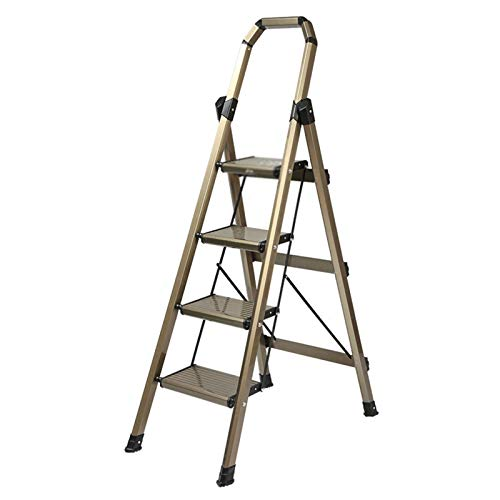 4-Paso Escalera Plegable De Aluminio De Peso Ligero Portátil Antideslizante 330Lb De La Carga Máxima, para Los Hogares Ministerio del Interior